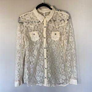 Roper Cream Lace Western Button Shirt. Size XL
